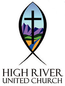 High River United Church logo shows a cross set against illustration of mountain foothills