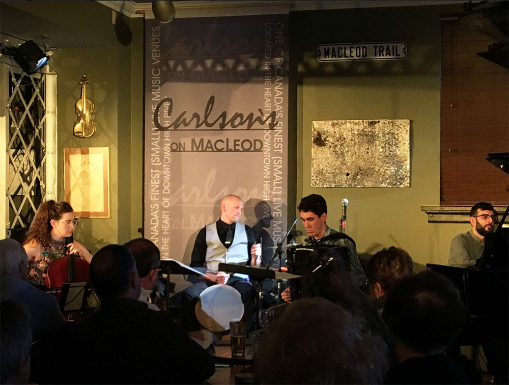 Ladom Ensemble performing at an outreach event at Carlsons on Macleod in 2019